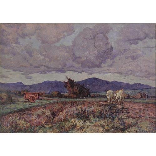m - Gino Romiti (Livorno 1881 - 1967) , paesaggio con carretto e buoi