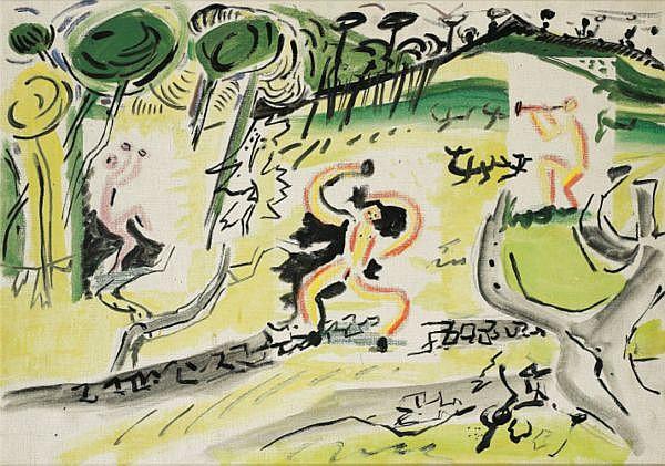 PABLO PICASSO & EDOUARD PIGNON , 1881-1973 / 1905-1993 TROIS FAUNES DANSANT DANS UN PAYSAGE huile sur toile
