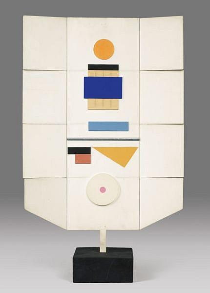 Marcelle Cahn , 1895-1981 SPACIAL-MOBILE relief en bois peint