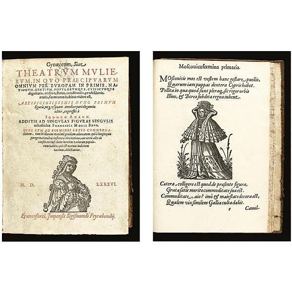 Amman, Jost (1539-1591). , Gynaeceum sive theatrum mulierum, in quo praecipuarum omnium per Europam inprimis, nationum ... foemineos habitus videre est. Frankfurt: Sigismund Feierabend, 1586