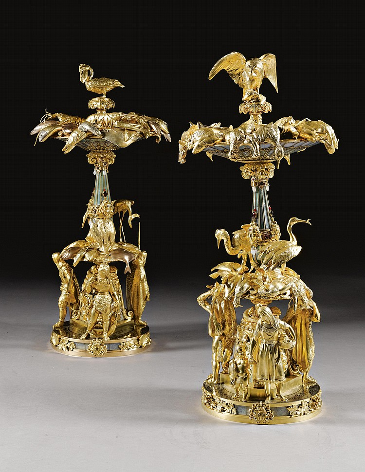A PAIR OF TWO-TONE GILT-AND SILVERED-BRONZE HARDSTONE CENTREPIECES CREATED UNDER THE DIRECTION OF AIMÉ CHENEVARD (1794-1838) AND EXECUTED BY JEAN-JACQUES FEUCHÈRE (1807-1852), JEAN-AUGUST BARRE (1811-1896), AND PIERRE-JULES CAVELIER(1814-1894); AND