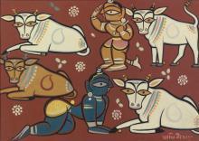 JAMINI ROY | Untitled (Krishna with cowherds)