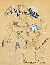 ABDUR RAHMAN CHUGHTAI | Untitled (Krishna and Gopi)