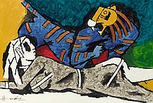 MAQBOOL FIDA HUSAIN | Untitled (Lady and the Tiger)