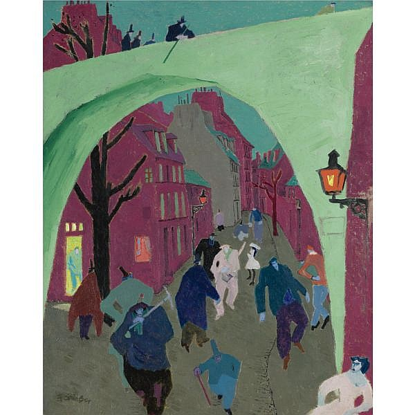 l - Lyonel Feininger , 1871-1956 Die grüne Brücke (The Green Bridge) Oil on canvas
