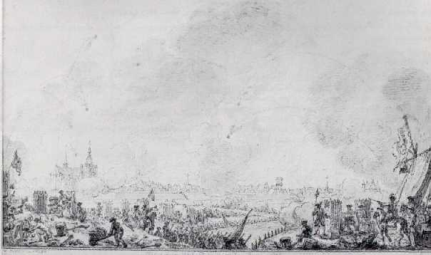 SIMON FOKKE (1712-1784) THE BOMBARDMENT OF BERGEN-OP-ZOOM ON 1 AUGUST 1747.