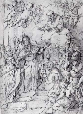PIETRO NOVELLI, CALLED IL MONREALESE (1603-1660) ST. FRANCIS APPEARING TO A POPE AND A KING.