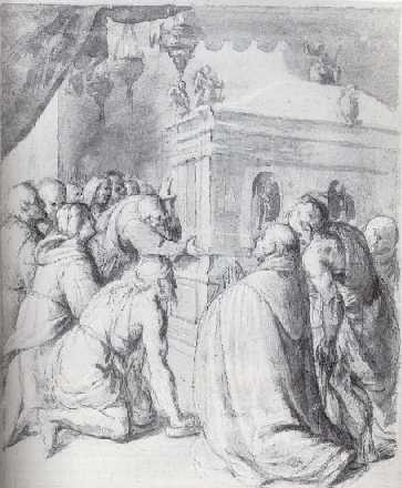 MARCO ANGELO DEL MORO (CIRCA 1537-1586) Recto and verso: PILGRIMS VENERATING THE TOMB OF A SAINT.