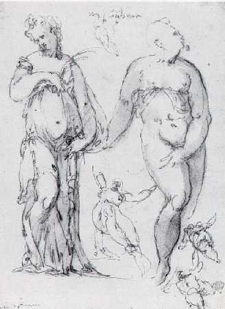 BERNARDINO INDIA (1528-1590) A DOUBLE-SIDED SHEET OF FIGURE STUDIES.