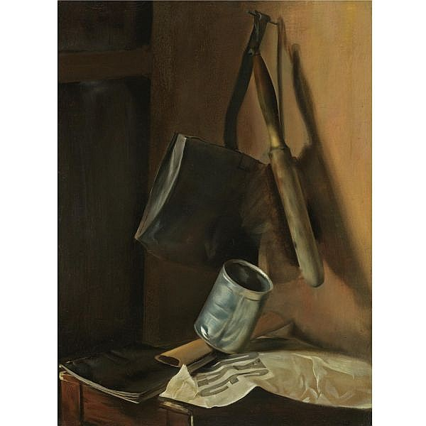 - Vasily Ivanovich Shukhaev , 1887-1973 still life with dustpan, brush and newspaper oil on canvas