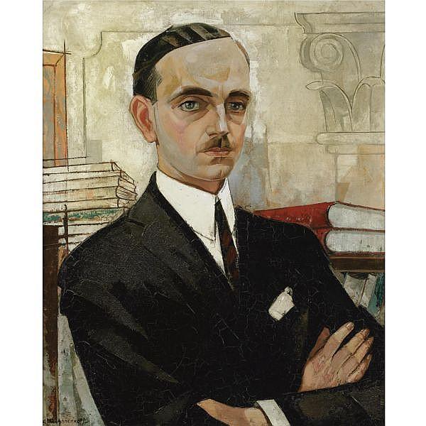 Yuri Pavlovich Annenkov , 1889-1974 portrait of a gentleman oil on canvas