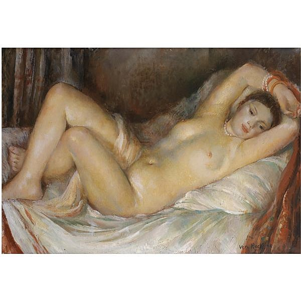 Vera Rockline , 1896-1934 reclining nude oil on canvas