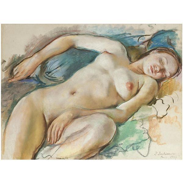 Zinaida Evgenievna Serebriakova , 1884-1967 reclining nude pastel on paper