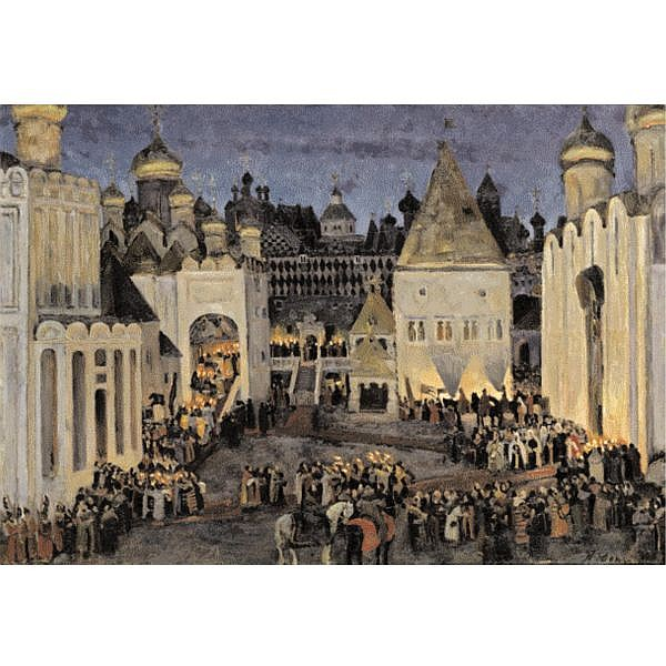 - Konstantin Fedorovich Yuon , 1875-1958 The Kremlin on the eve of the coronation of Tsar Mikhail Fedorovich oil on canvas
