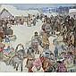 Leon Gaspard , Russian 1882-1964 Siberian Winter Festival oil on board   , Leon Shulman Gaspard, Click for value