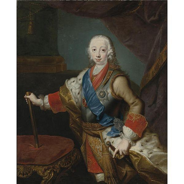 Studio of Georg Christoph Grooth , German 1716-1749 Portrait of the Great Prince Peter Fedorovich oil on canvas