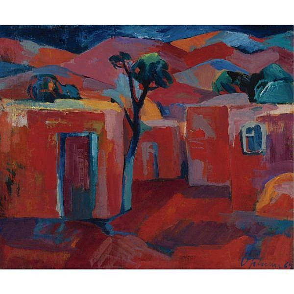 Minas Avetisian , Armenian 1928-1975 Our Village oil on canvas