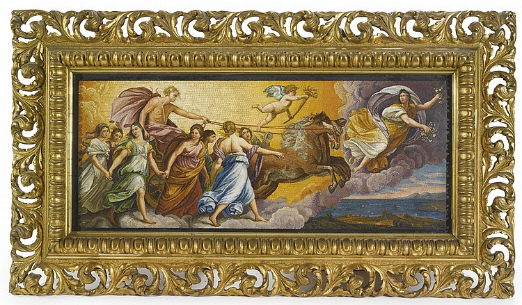 LORENZO CASSIOFL. 1874- AFTER 1925A MICROMOSAIC MURAL PLAQUE OF AURORA AND THE CHARIOT OF APOLLO, AFTER GUIDO RENI (1575-1642)ROME, CIRCA 1880'S, VATICAN MOSAIC WORKSHOP