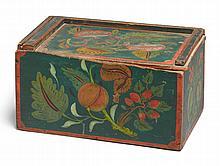 PAINT-DECORATED POPLAR SLIDE-LID BOX, SCHOHARIE COUNTY, NEW YORK, CIRCA 1830 | Paint-Decorated Poplar Slide-Lid Box