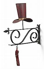 TWO RED-PAINTED SHEET METAL TRADE SIGNS: A HAT AND A GLOVE, LATE 19TH OR EARLY 20TH CENTURY | Two Red-Painted Sheet Metal Trade Signs: A Hat and a Glove
