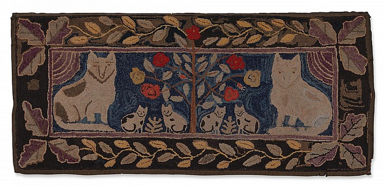 FINE AMERICAN PICTORIAL HOOKED RUG, LATE 19TH OR EARLY 20TH CENTURY |