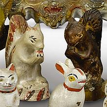 PAIR OF CHALKWARE SQUIRRELS, AMERICAN, LATE 19TH OR EARLY 20TH CENTURY | Pair of Chalkware Squirrels