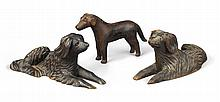 TWO CARVED WALNUT DOGS, ATTRIBUTED TO H.N. WENNING & COMPANY, CINCINNATI, LATE 19TH CENTURY | Pair of Carved Wooden Dogs