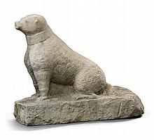 SANDSTONE CARVING OF A DOG, PROBABLY EARLY 19TH CENTURY |