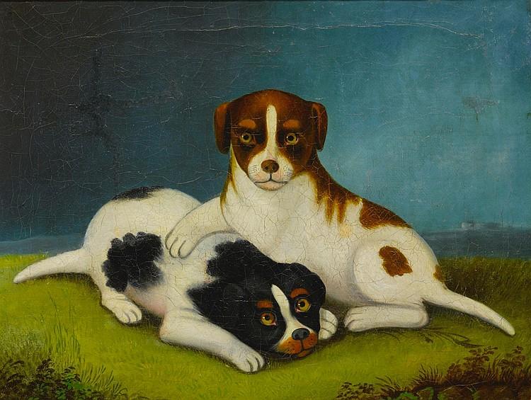 AMERICAN SCHOOL, 19TH CENTURY   Naïve Painting of Two Puppies