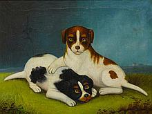 AMERICAN SCHOOL, 19TH CENTURY | Naïve Painting of Two Puppies
