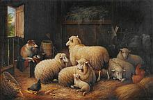 SUSAN CATHERINE WATERS (1823 - 1900) | Sheep and Dog in a Barn