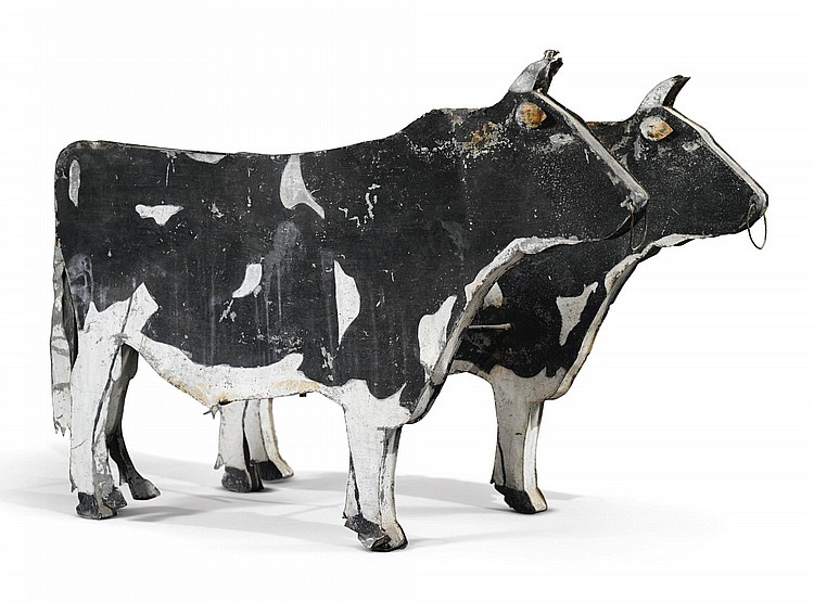 AMERICANPAINTED TRADE SIGN IN THE FORM OF A PAIR OF BULLS, EARLY 20TH CENTURY |