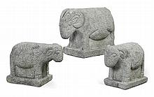 CARVED STONE EWE AND TWO LAMBS, LATE 19TH CENTURY |