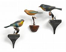 THREE CARVED WOOD AND PAINTED SONGBIRDS, AMERICAN, EARLY 20TH CENTURY | Three Carved Wood and Painted Songbirds