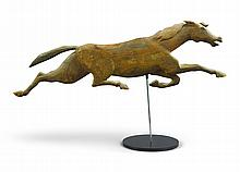 RARE AMERICAN CARVED POPLARWEATHERVANE MOLD PATTERN OF A RUNNING HORSE, SECOND HALF 19TH CENTURY |