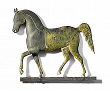 FINE AND RARE GILT COPPER AND CAST ZINC 'INDEX HORSE' WEATHERVANE, J. HOWARD & CO., BRIDGEWATER, MASSACHUSETTS, CIRCA 1860 |