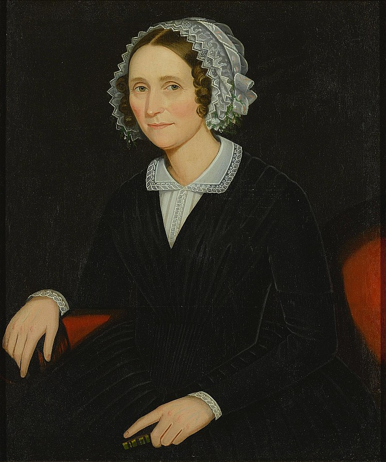 AMMI PHILLIPS (1788 - 1865) | Woman Seated on a Red Sofa, Wearing a Black Dress With White Lace Collar and Holding a Book