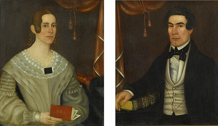 DANIEL JOHNSON KELLOGG (ACTIVE MID-19TH CENTURY) | Husband and Wife: A Pair of Portraits