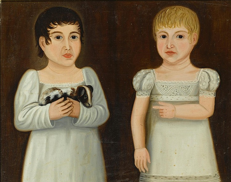 AMERICAN SCHOOL, 19TH CENTURY | Double Portrait of Two Children Wearing White Dresses, One Holding a Puppy