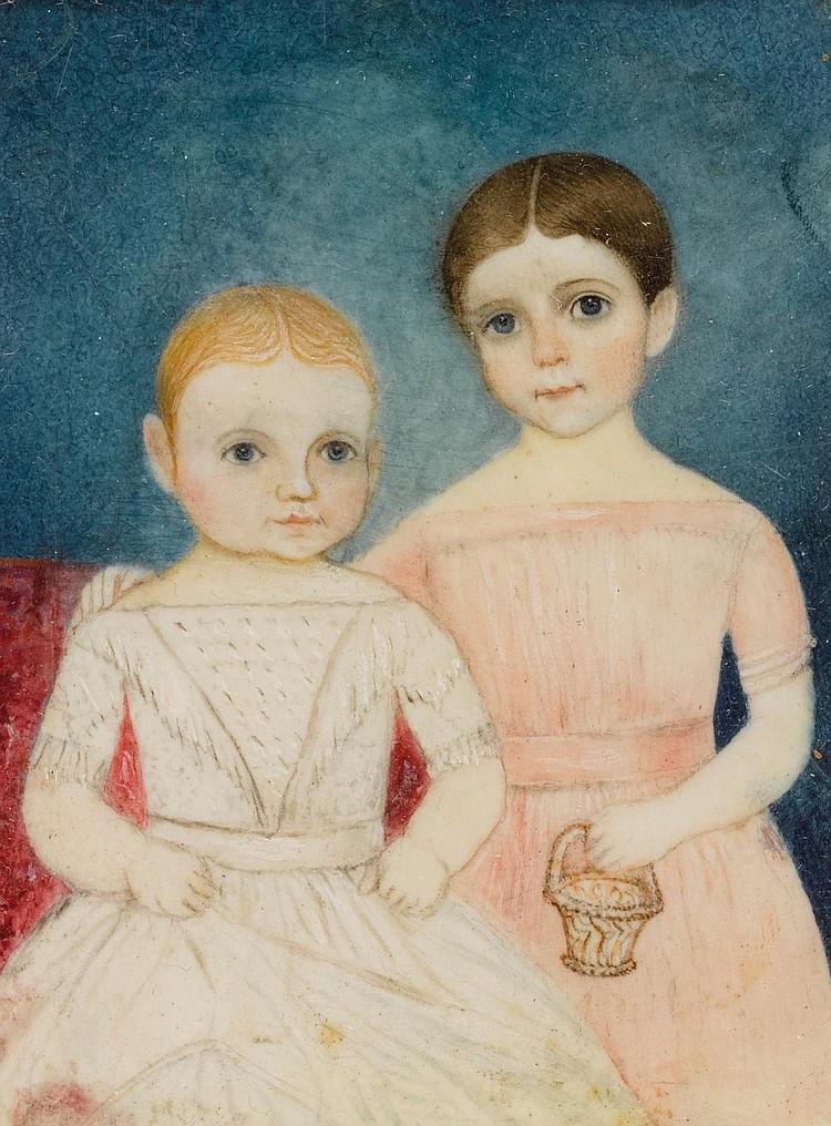 AMERICAN SCHOOL, 19TH CENTURY | Miniature Portrait of Two Children