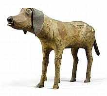 VERY RARE CARVED WOODSCULPTURE OF A DOG, OHIO, CIRCA 1845 |