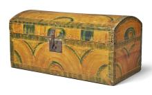 YELLOW AND GREEN DECORATED POPLAR DOME-TOP BOX, NEW ENGLAND, CIRCA 1800 |