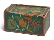 PAINT-DECORATED POPLAR SLIDE-LID BOX, SCHOHARIE COUNTY, NEW YORK, CIRCA 1830 | Paint-Decorated Poplar Slide-Lid Box