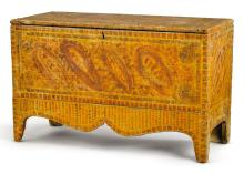RED AND YELLOW GRAIN PAINT-DECORATED PINE BLANKET CHEST, PROBABLY VERMONT, CIRCA 1820 |