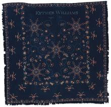 VERY FINE AND RARE EMBROIDERED WOOL COVERLET, CONNECTICUT RIVER VALLEY, CIRCA 1825 | Embroidered Wool Coverlet
