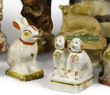 THREE CHALKWARE FIGURES IN THE FORM OF A SHEEP, A RABBIT, AND A PAIR OF SEATED POODLES, AMERICAN, LATE 19TH OR EARLY 20TH CENTURY | Chalkware Ram with Green Trim, Chalkware Poodle Pair, Chalkware Rabbit