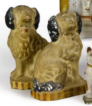 PAIR OF CHALKWARE SEATED SPANIELS, AMERICAN, LATE 19TH OR EARLY 20TH CENTURY | Pair of Chalkware Seated Spaniels