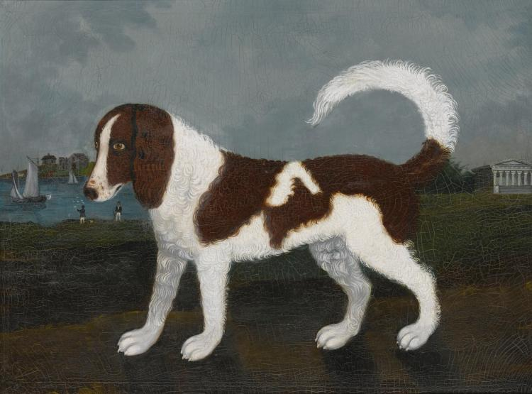 AMERICAN SCHOOL, 19TH CENTURY   Portrait of a Dog with aGreek Templeand Boats in the Background