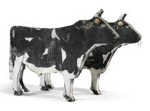AMERICAN PAINTED TRADE SIGN IN THE FORM OF A PAIR OF BULLS, EARLY 20TH CENTURY |