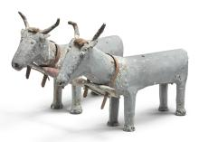 RARE FOLK SCULPTURE OF A TEAM OF OXEN, MID-20TH CENTURY | Folk Sculpture of a Team of Oxen